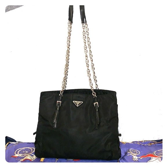 6a67ee17f2e2 Prada Bags | Authentic Black Nylon Tote Bag Chain Strap | Poshmark